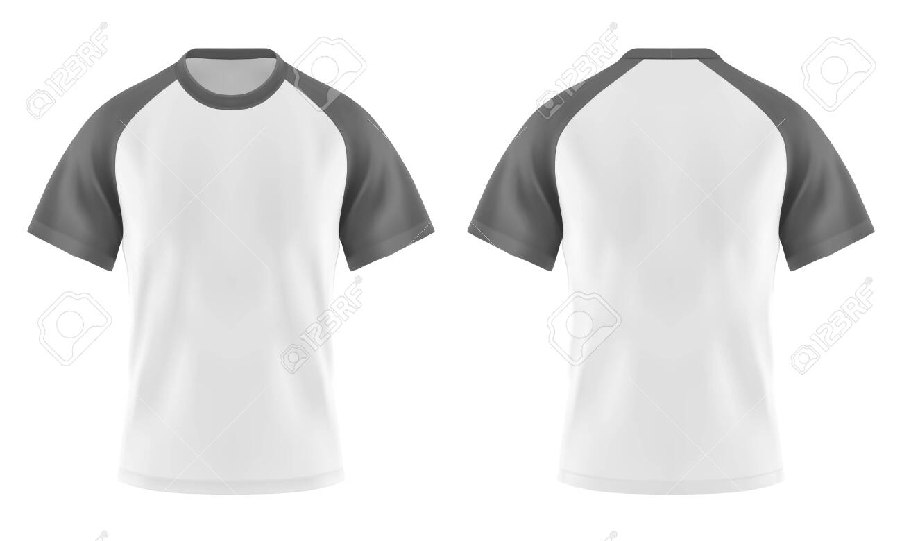 Set of isolated white t-shirts with gray or grey sleeve and u-neck. Casual blank wear template for man and woman. Clear or empty 3d apparel or realistic cloth. Male and female textile. Fashion theme - 123828290