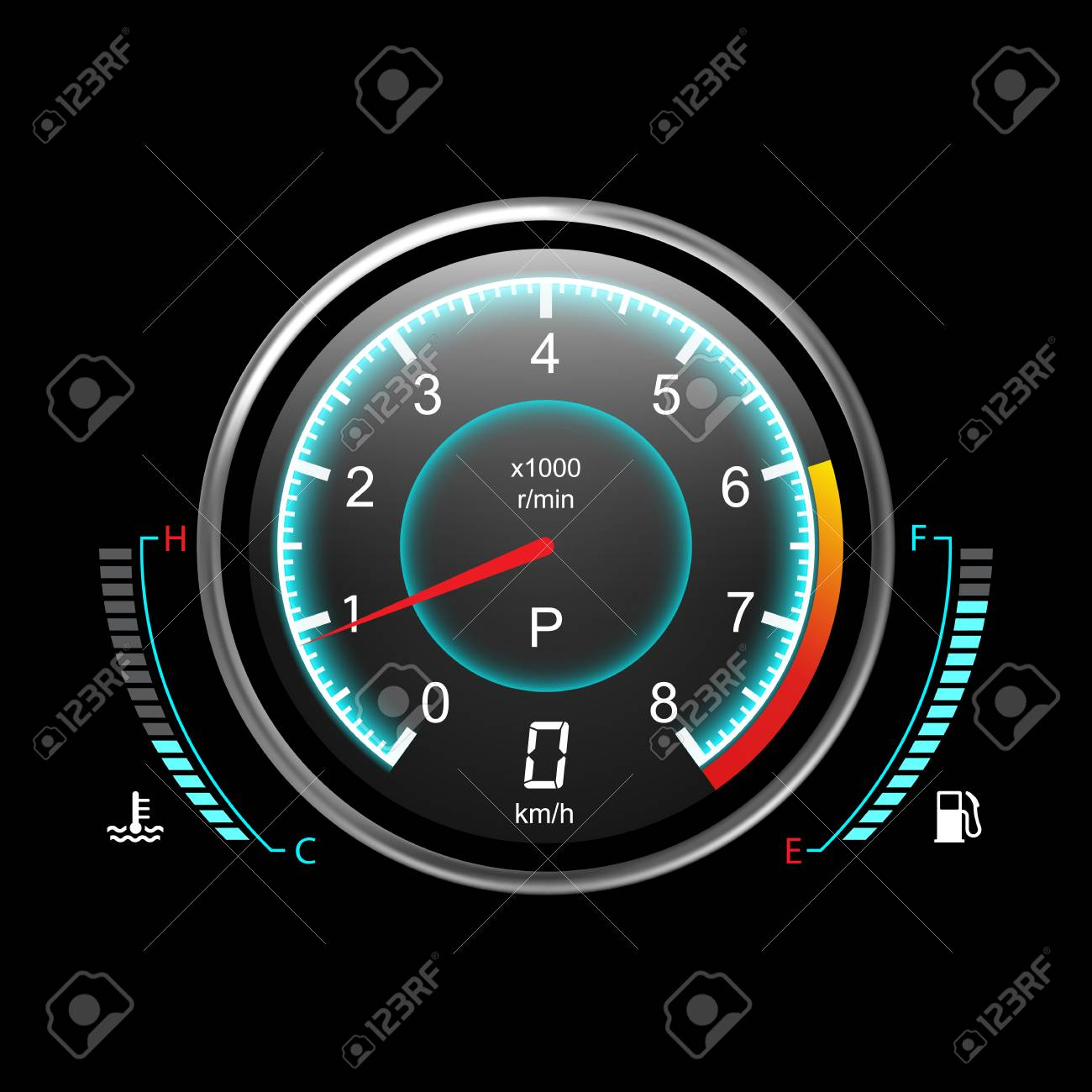 Truck speedometer or car odograph with fuel level and temperature