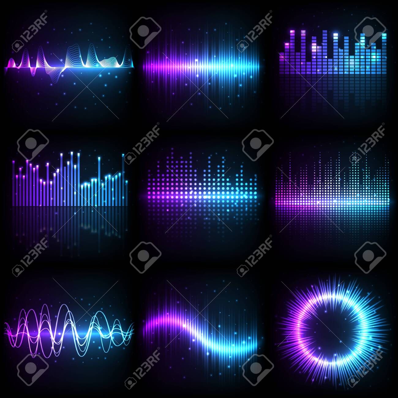 Sound wave, music audio equalizer with frequency pattern, vector different shapes. Abstract music sound wave of purple and blue neon light colors, electronic amplifier and beat record spectrum graphic - 135934186