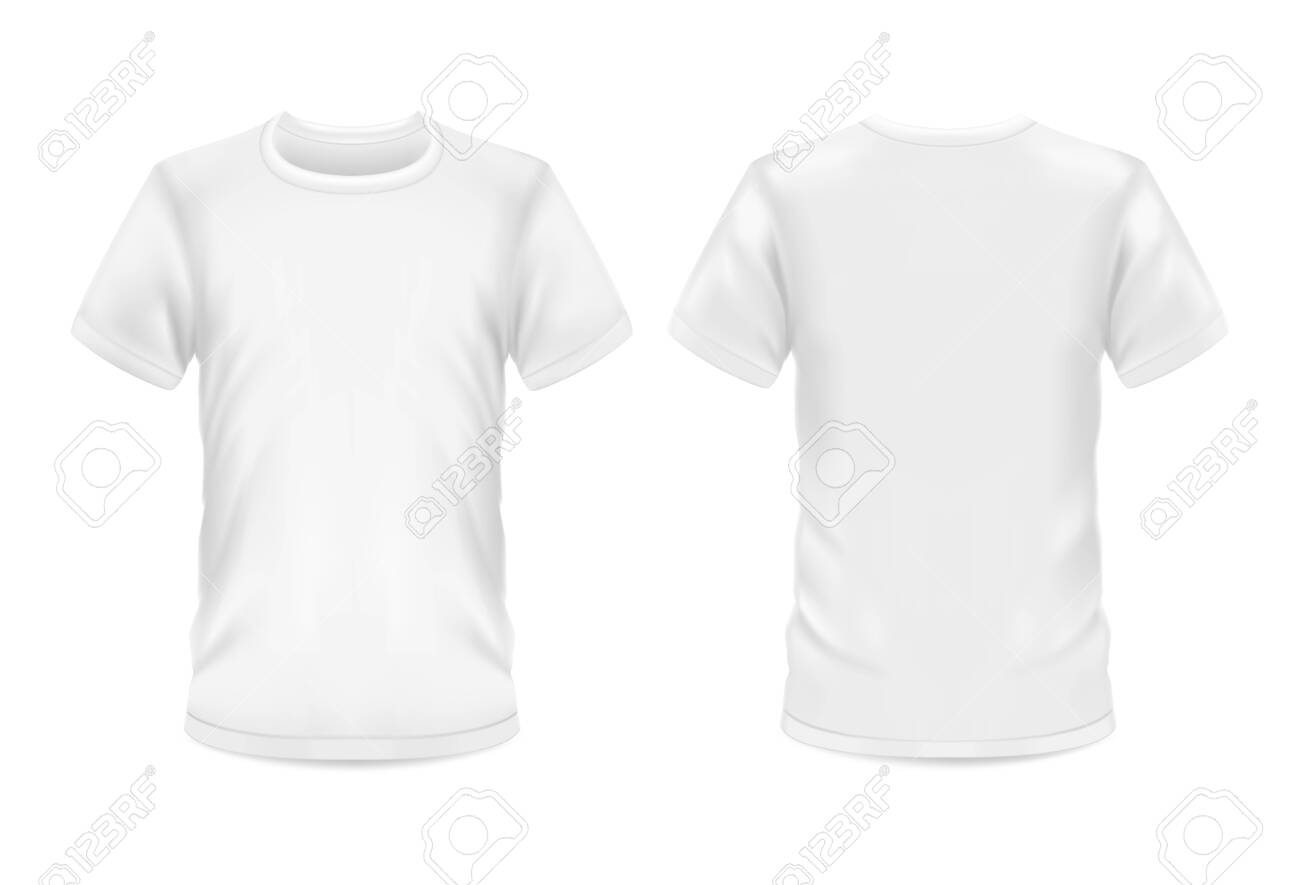 White t-shirt, vector 3d blank realistic model mockup. Man and woman sportswear or casual t shirt with round neck and short sleeves, front and rear view for branding template - 135934201