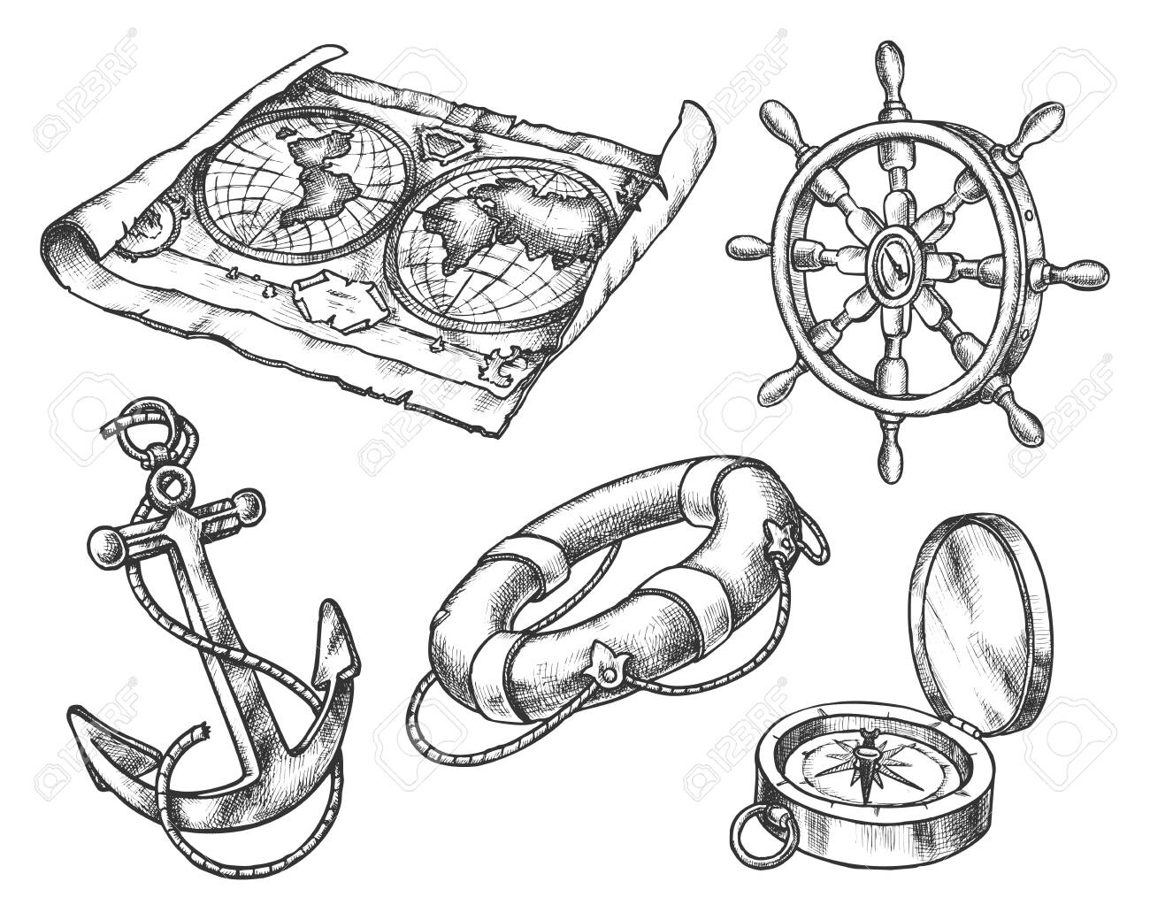 Set Of Isolated Sketch Of Sea Equipment Ocean Compass And Vintage Royalty Free Cliparts Vectors And Stock Illustration Image 135340138
