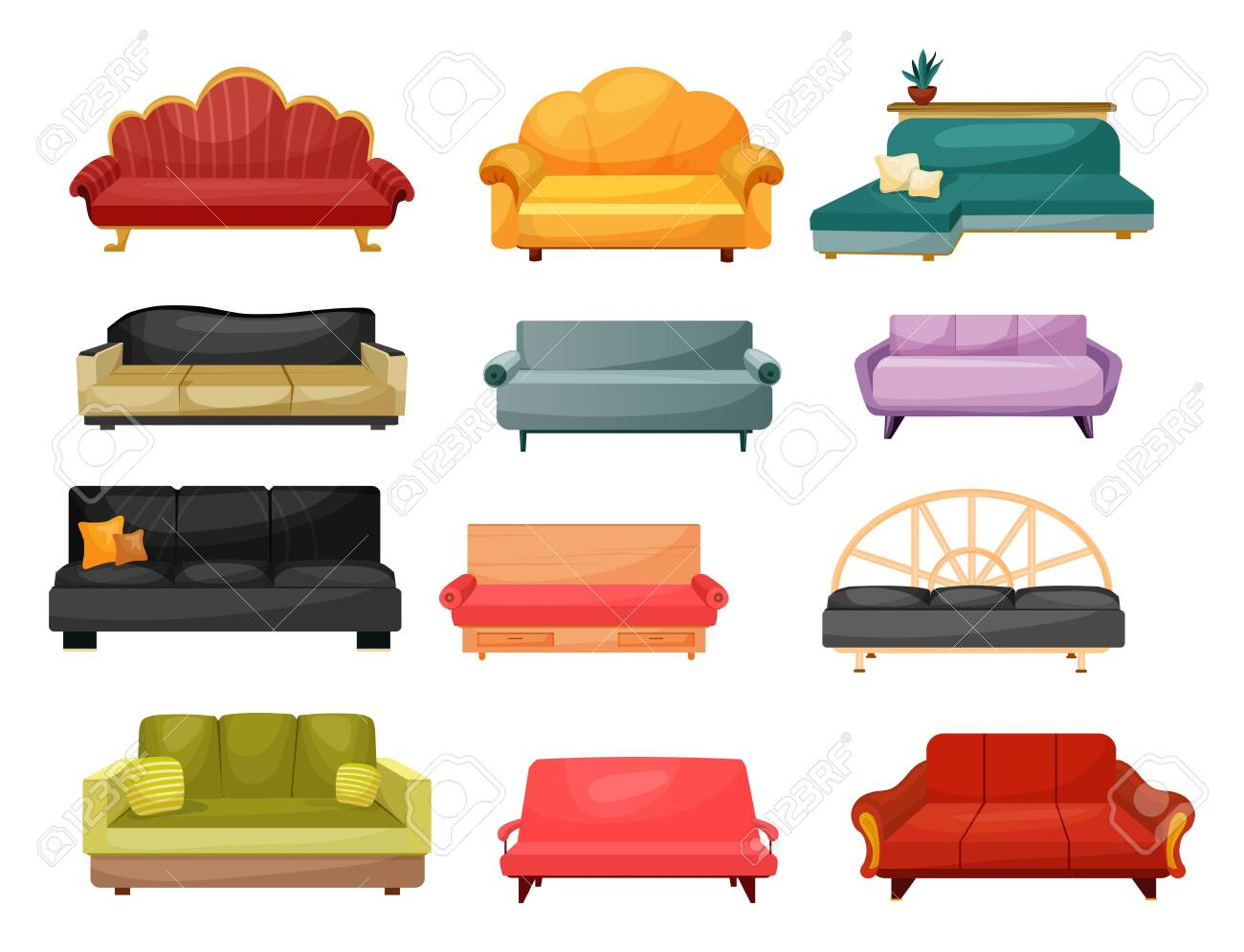 Sofa and lounge couch, vector flat icons of home furniture. Modern and classic vintage upholstery sofas, divans and settee with pillow cushions, home and office interior - 135824515