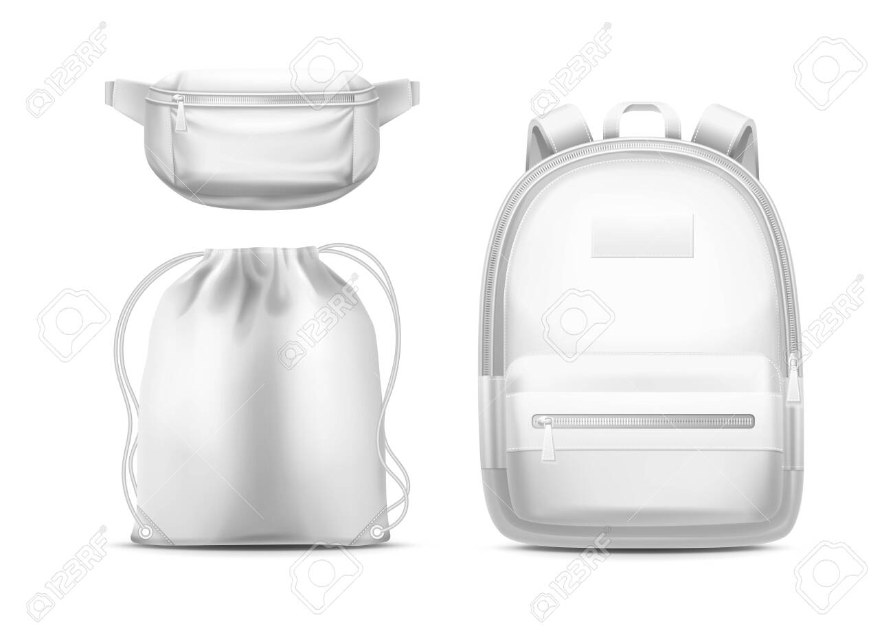Download White Backpack Sport Pouch With Shoulder Ropes And Waist Bag Royalty Free Cliparts Vectors And Stock Illustration Image 138495624