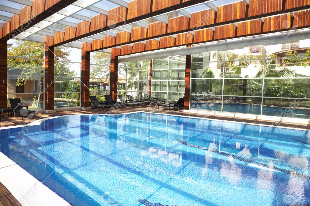 Interior Swimming Pool With A Glass Roof Stock Photo