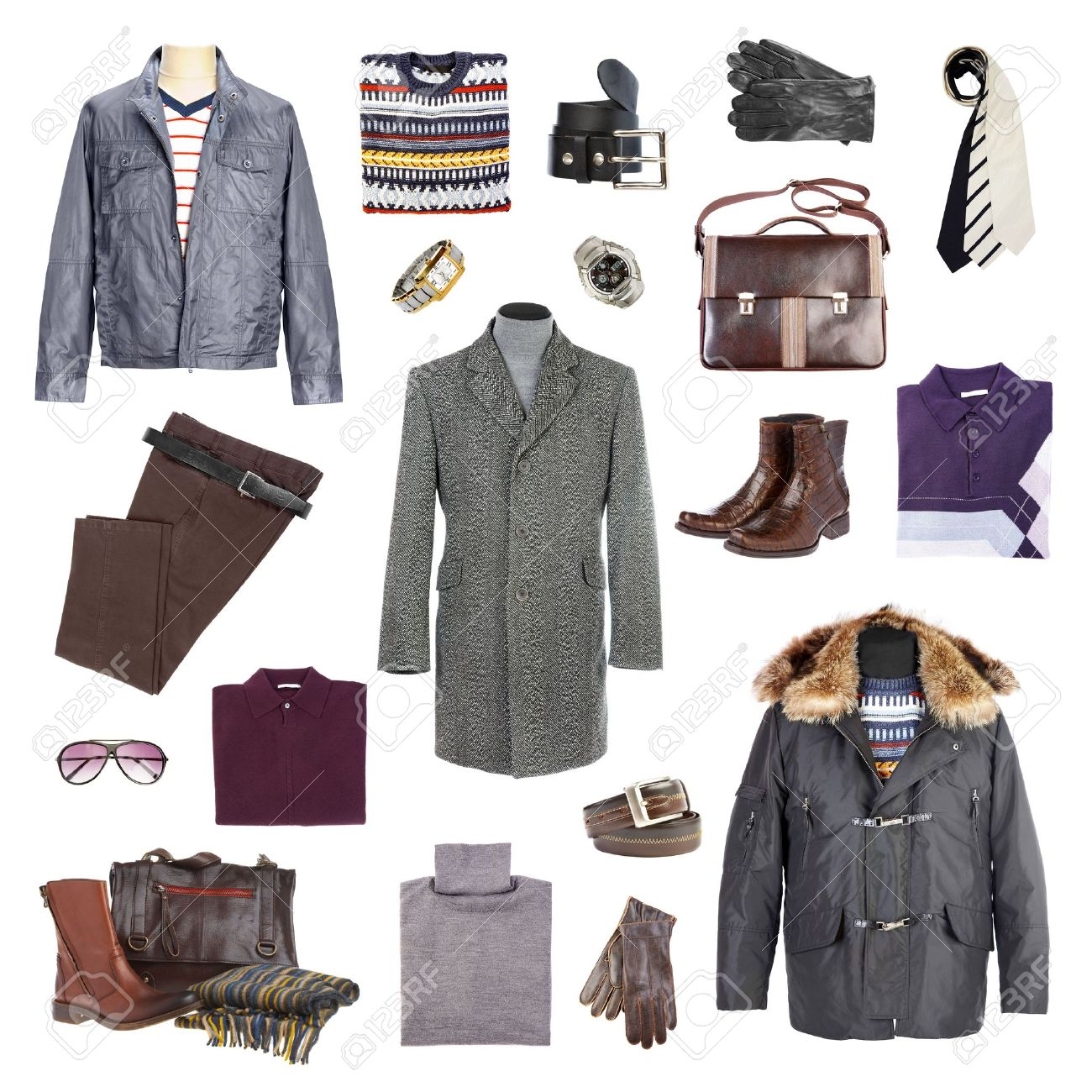 Man's winter clothes on a white background Stock Photo - 3678698