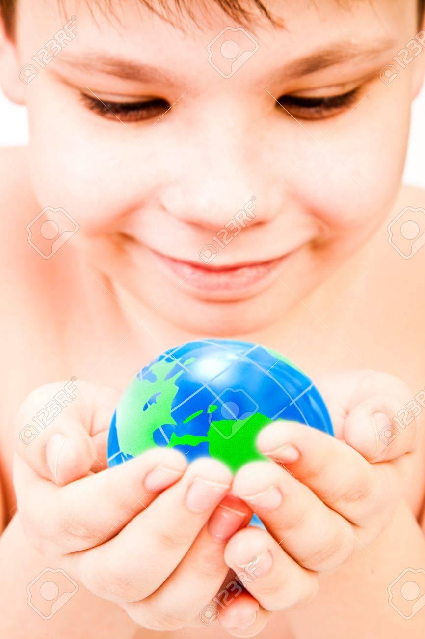boy and globe Stock Photo - 7641165
