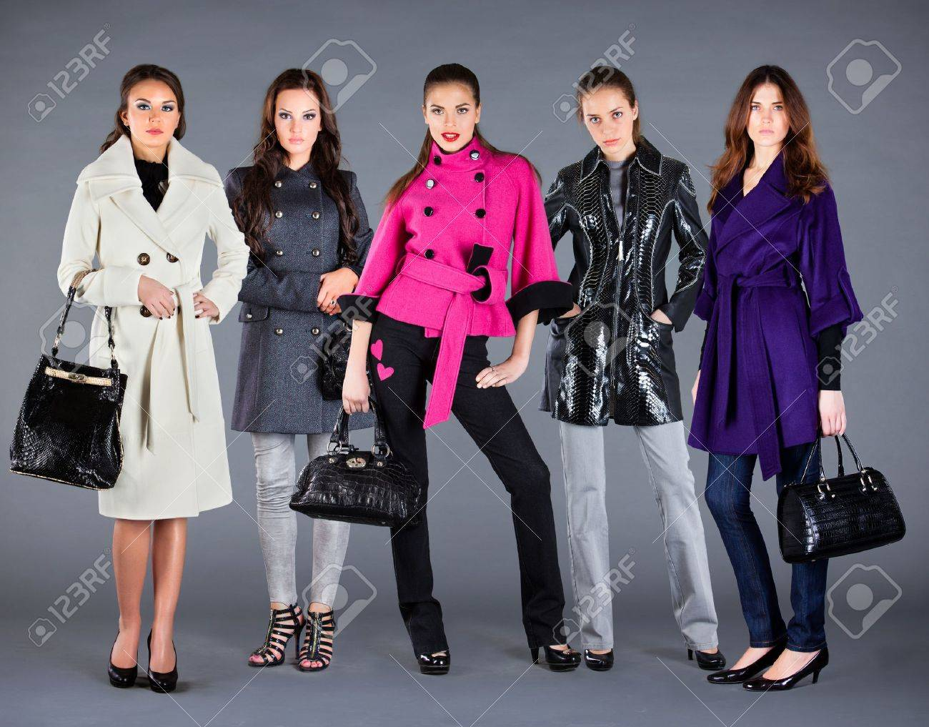 Five girls in different clothes, autumn winter collection clothes Stock Photo - 8654450