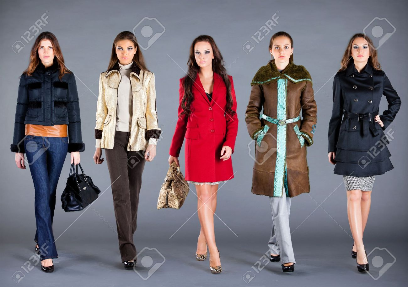 Five Girls In Different Clothes, Autumn Winter Collection Clothes ...