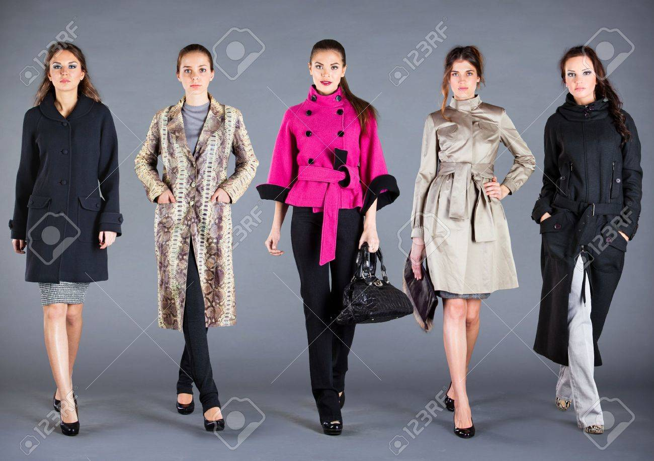 Five girls in different clothes, autumn winter collection clothes Stock Photo - 10284884