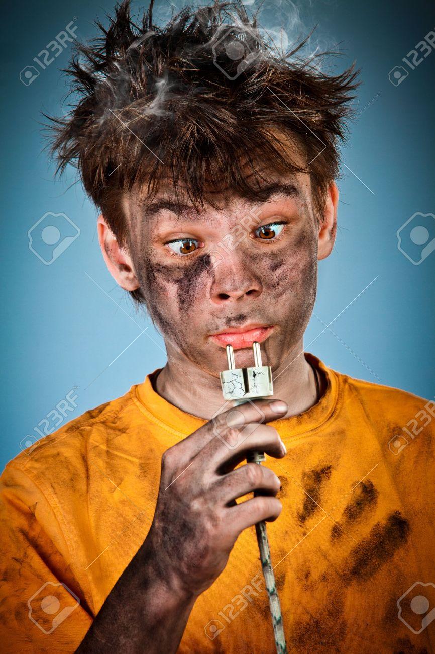 Boy has a electric shock Stock Photo - 12938710