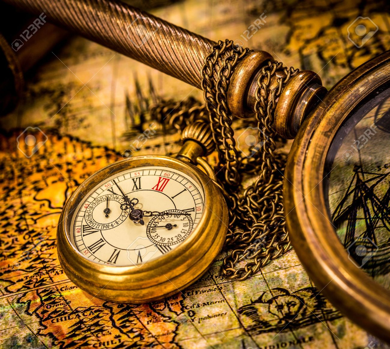 Vintage Still Life Antique Pocket Watch Stock Photo Picture And