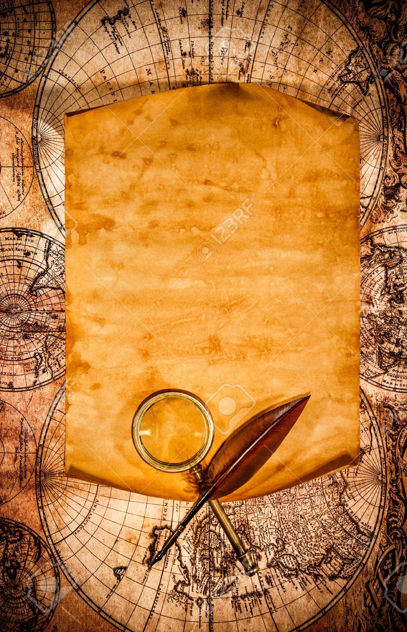 Blank Old Paper With Curled Edge Against The Background Of An Ancient Map Stock Photo