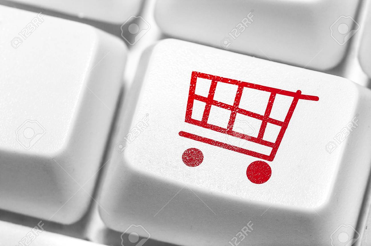 E-commerce, red shopping cart computer key. Stock Photo - 21939338