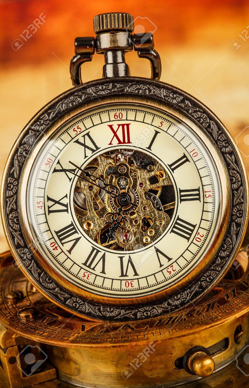 Antique pocket watch  Vintage Antique Pocket Watch. Vintage Grunge Still Life. Stock ...