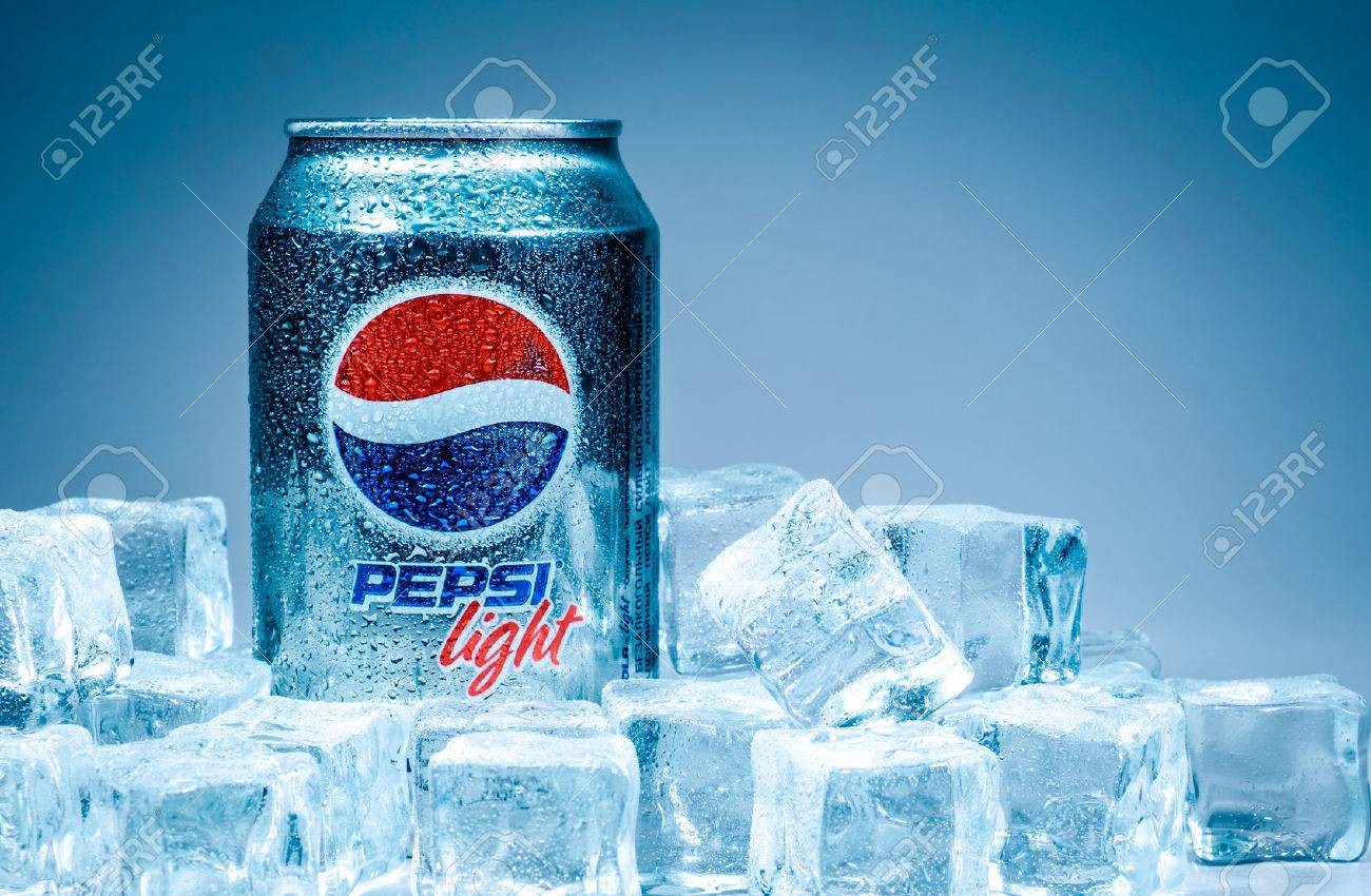 MOSCOW, RUSSIA-APRIL 4, 2014: Can of Pepsi cola on ice  Pepsi