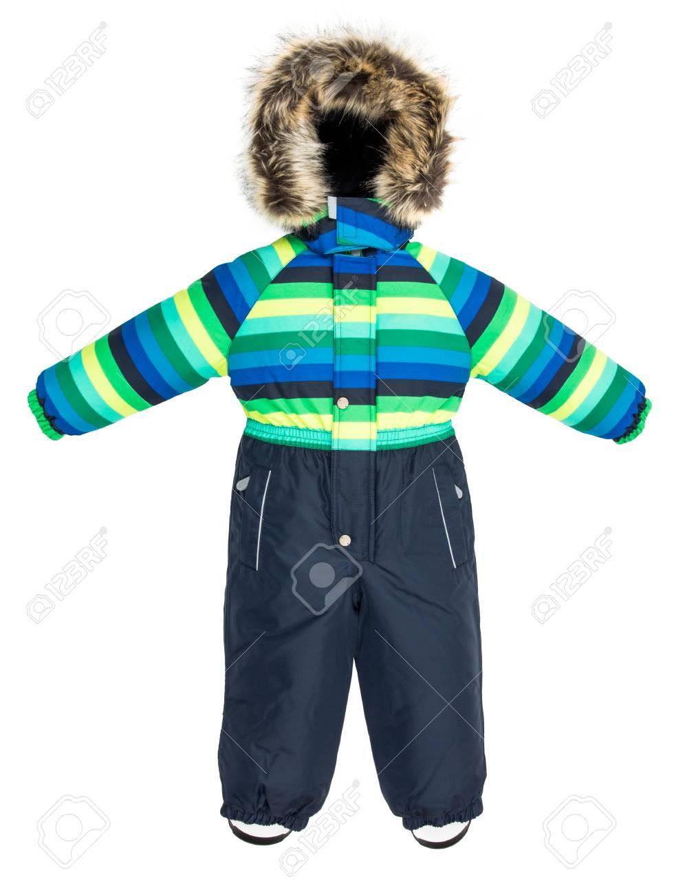 58195b006913f2 La tuta da jeans per bambini è caduta su uno sfondo bianco Archivio  Fotografico - 48880746