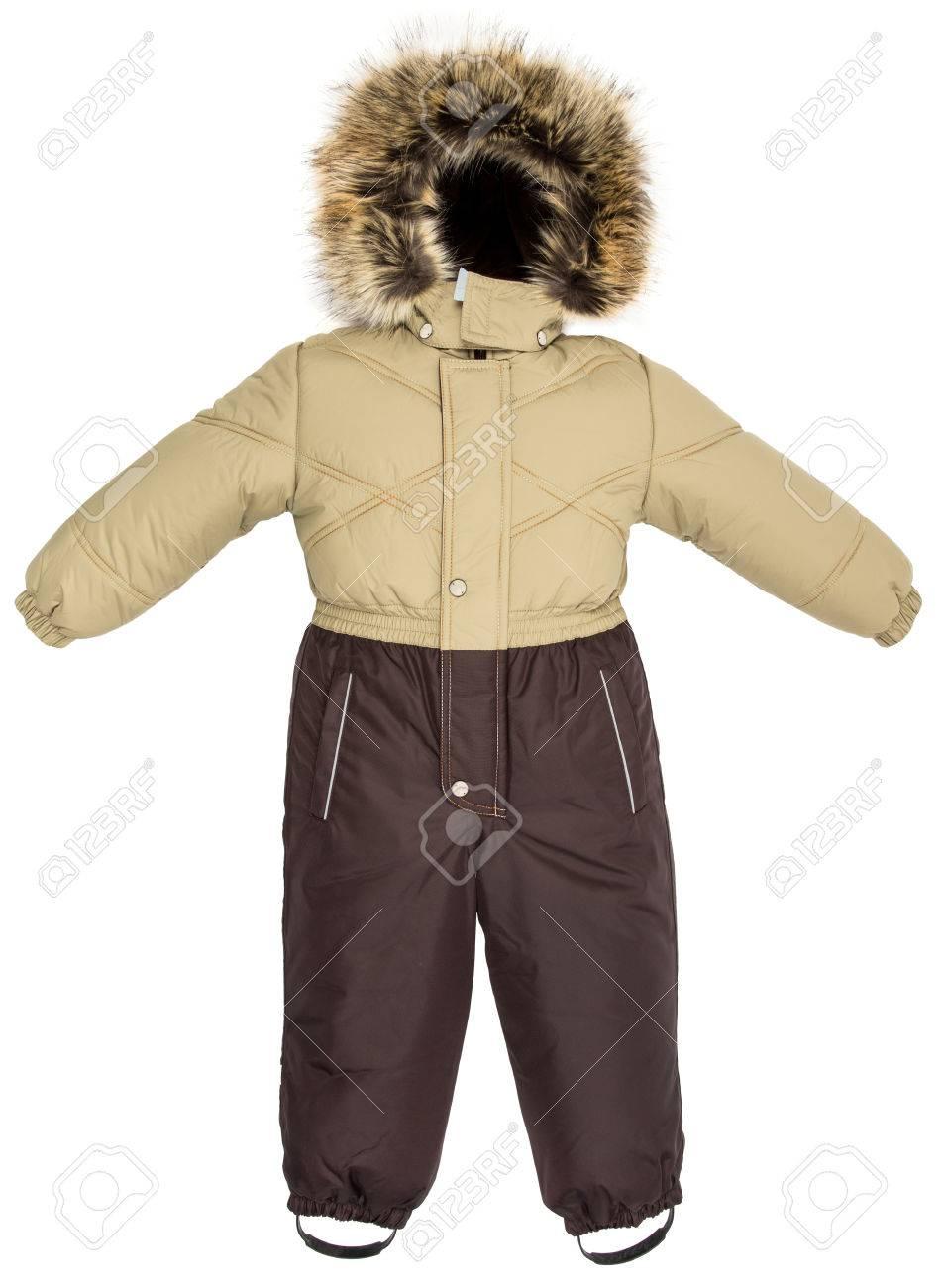 f375c34a0f7ee5 La tuta da jeans per bambini è caduta su uno sfondo bianco Archivio  Fotografico - 64413009