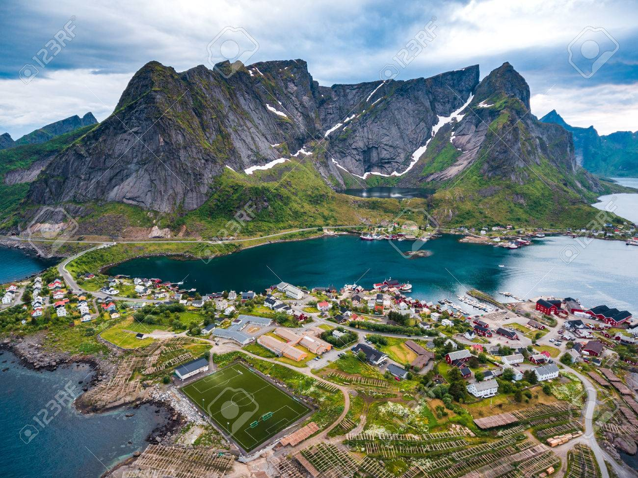 Lofoten is an archipelago in the county of Nordland, Norway. Is known for a distinctive scenery with dramatic mountains and peaks, open sea and sheltered bays, beaches and untouched lands. - 64786643