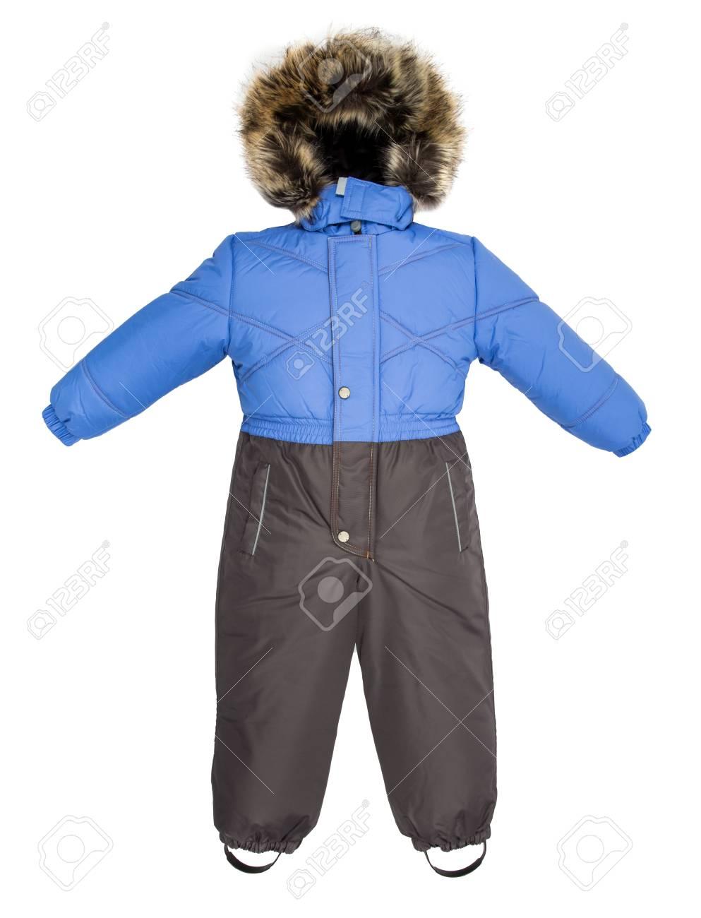 2a4a38f721a0fe La tuta da jeans per bambini è caduta su uno sfondo bianco Archivio  Fotografico - 65146057