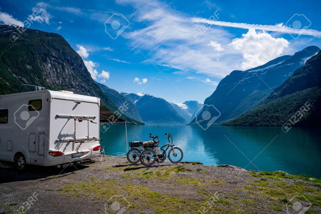 Family vacation travel, holiday trip in motorhome, Caravan car Vacation. Beautiful Nature Norway natural landscape. - 70102175