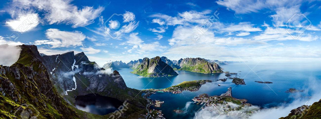 Panorama Lofoten is an archipelago in the county of Nordland, Norway. Is known for a distinctive scenery with dramatic mountains and peaks, open sea and sheltered bays, beaches and untouched lands. - 71386977