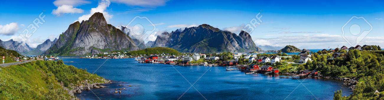 Panorama Lofoten is an archipelago in the county of Nordland, Norway. Is known for a distinctive scenery with dramatic mountains and peaks, open sea and sheltered bays, beaches and untouched lands. - 71644449
