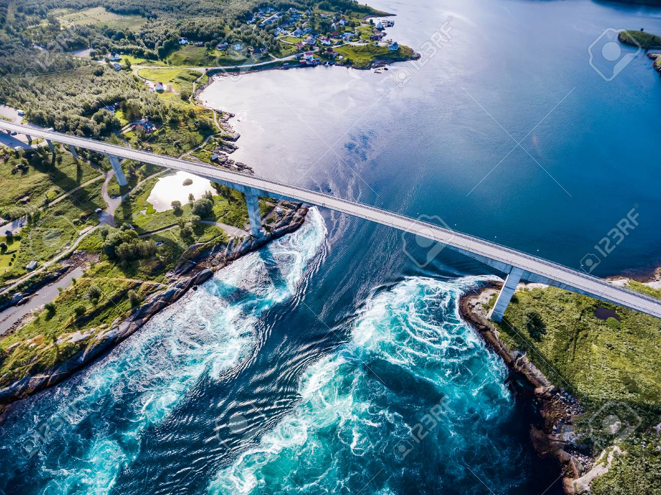 Stock Photo Whirlpools Of The Maelstrom Of Saltstraumen Nordland Norway Aerial View Beautiful Nature Saltstraumen Is A Small Strait With One Of The