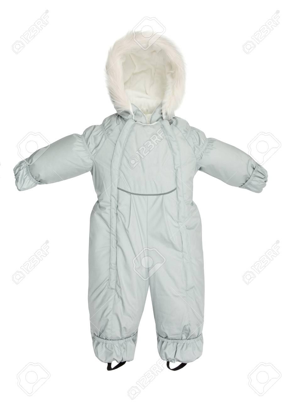 dca0255ac77c3c La tuta da jeans per bambini è caduta su uno sfondo bianco Archivio  Fotografico - 84424357