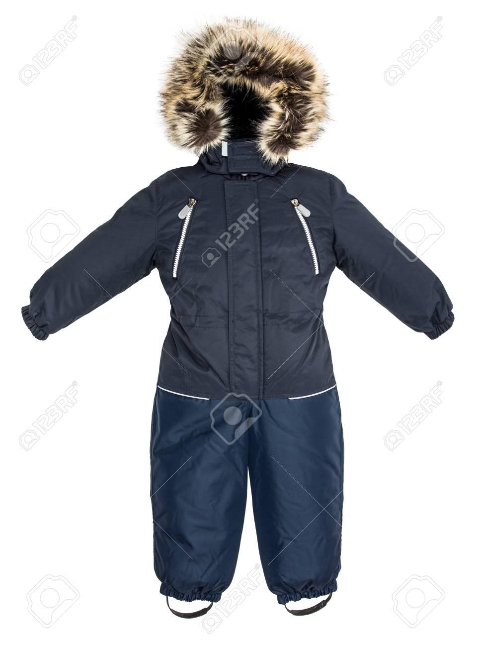 5d9c58dcd3021b La tuta da jeans per bambini è caduta su uno sfondo bianco Archivio  Fotografico - 84424364