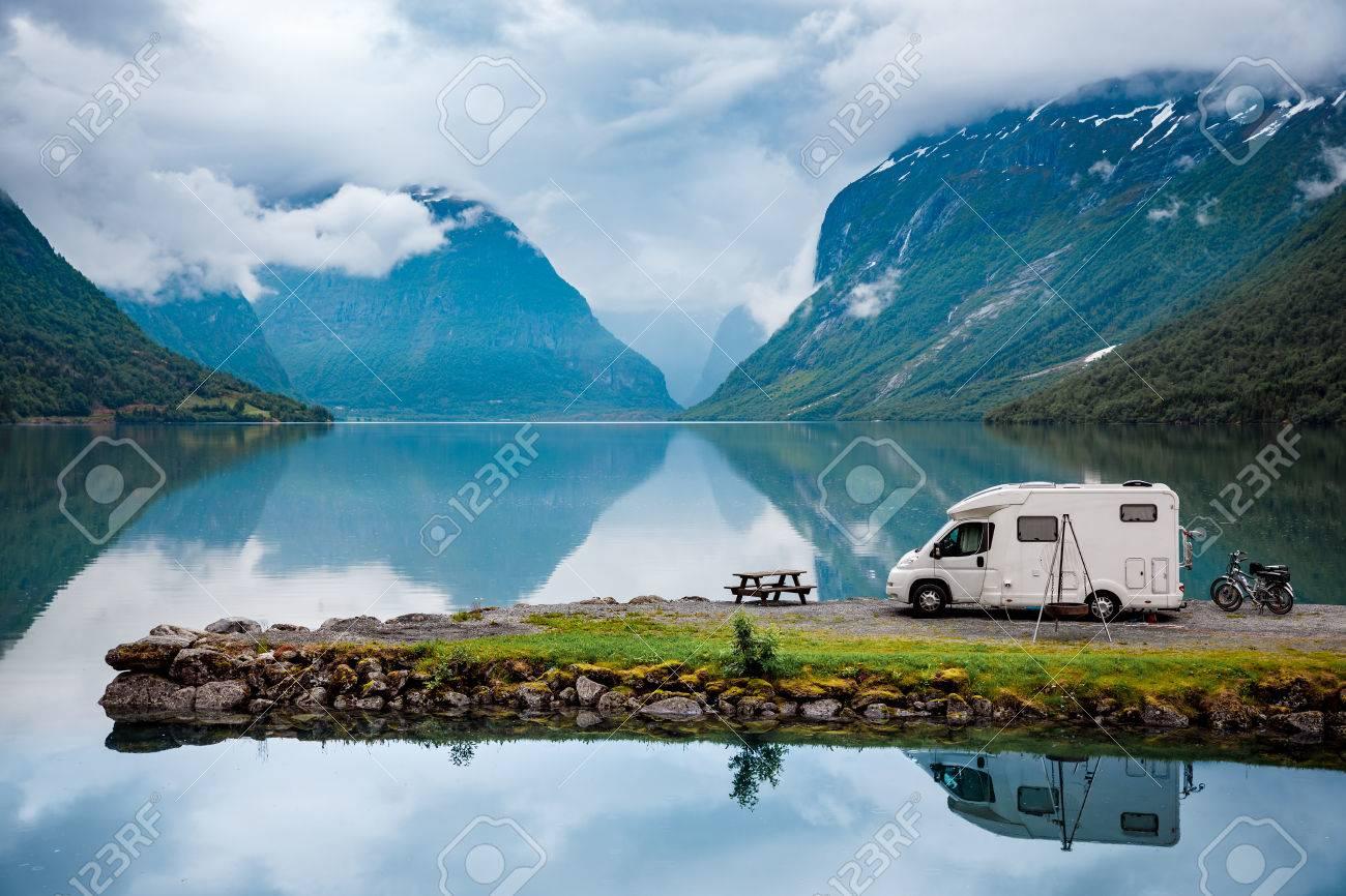 Family vacation travel, holiday trip in motorhome, Caravan car Vacation. Beautiful Nature Italy natural landscape Alps. - 84809162