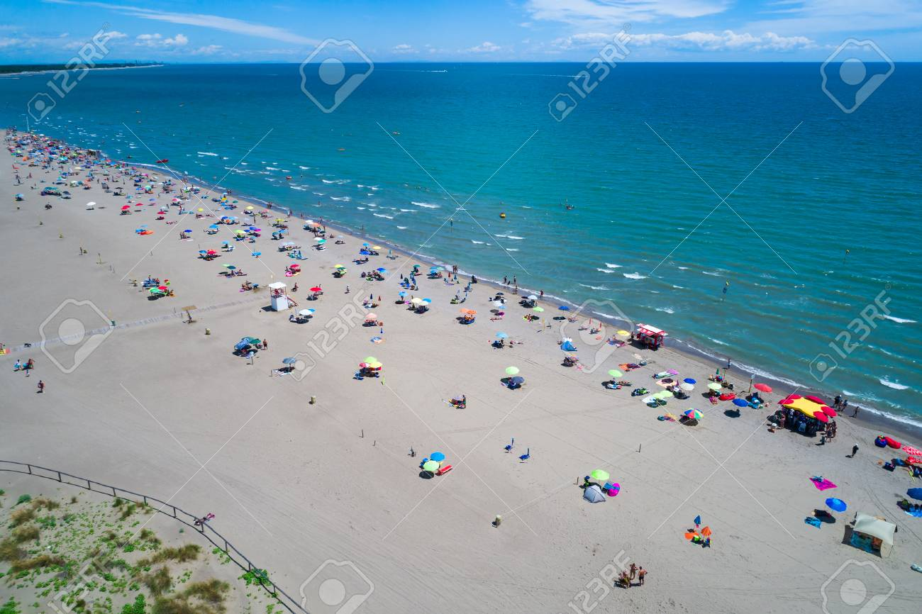 Aerial FPV Drone Photography Italy The Beach Of Adriatic Sea Rest On Near Venice