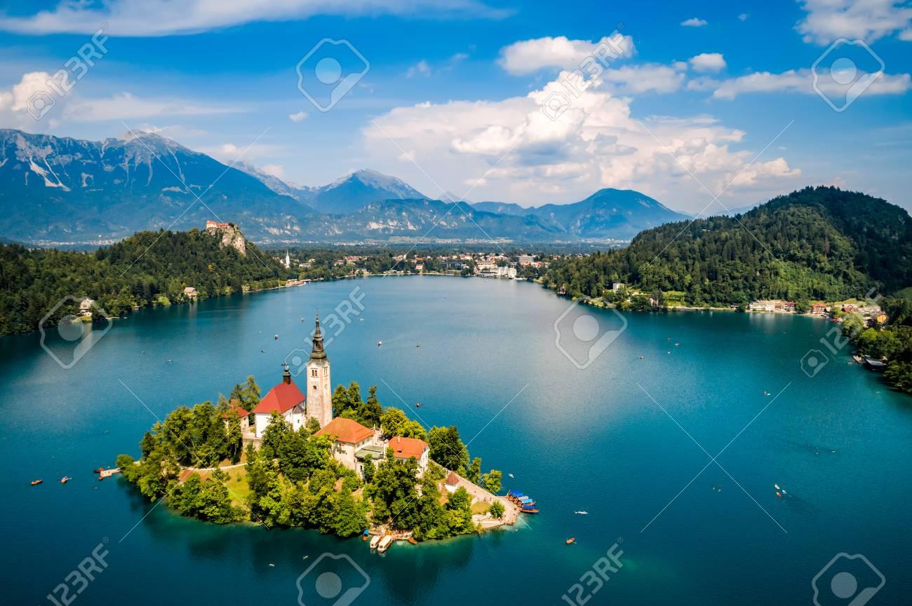 Slovenia - Aerial view resort Lake Bled. - 97482275
