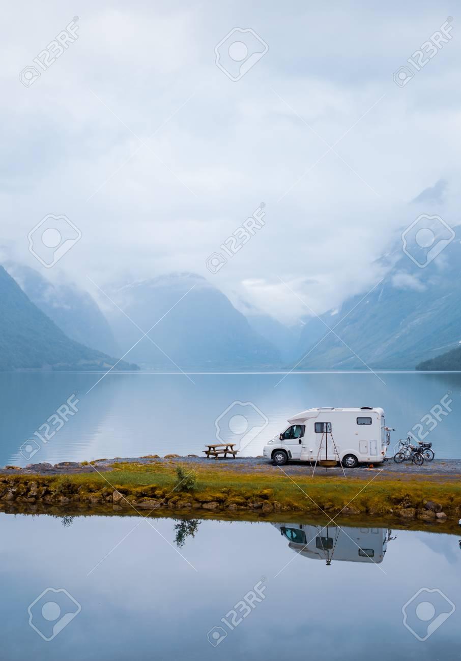 Family vacation travel RV, holiday trip in motorhome, Caravan car Vacation. Beautiful Nature Norway natural landscape. - 108097586