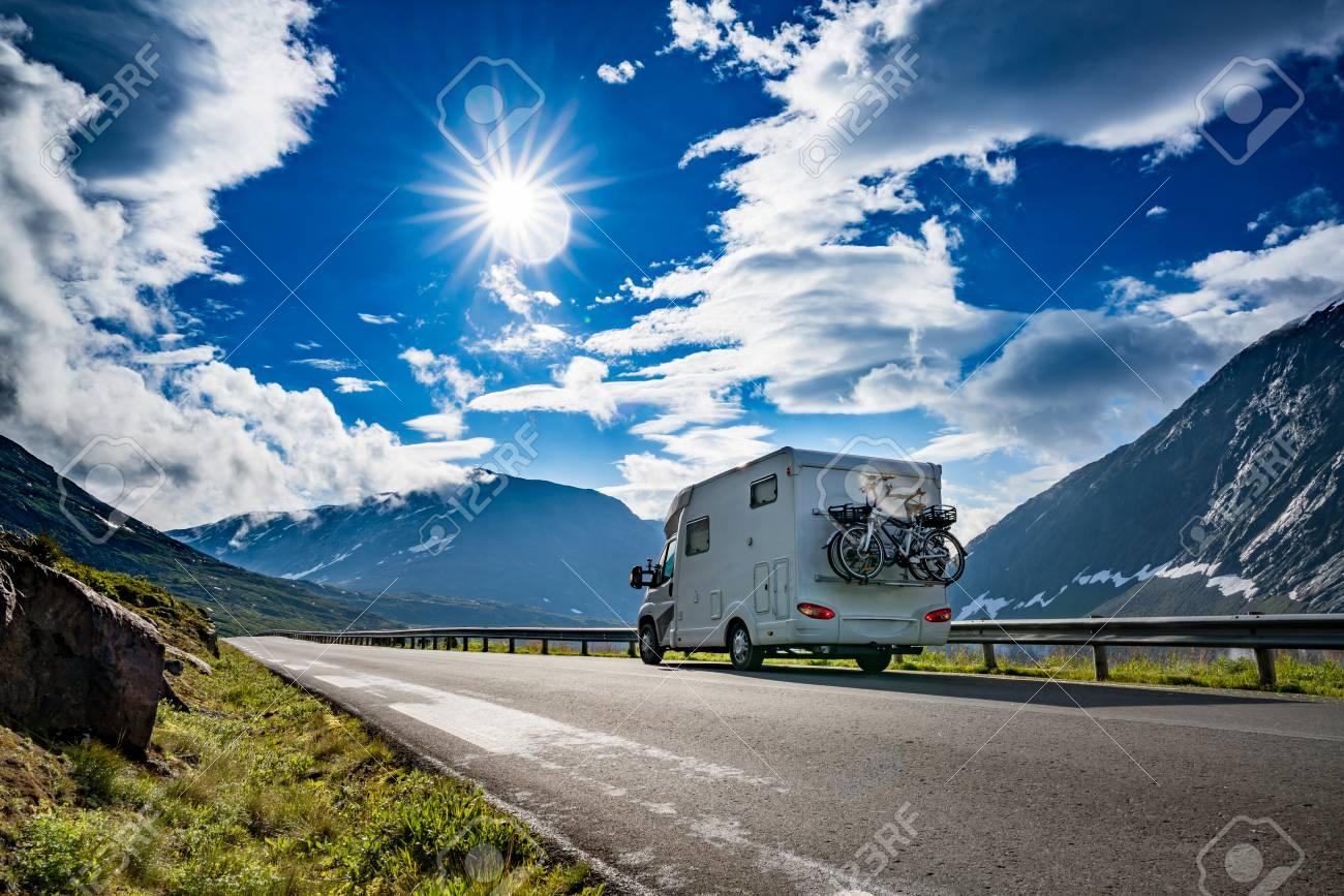 Family vacation travel RV, holiday trip in motorhome, Caravan car Vacation. Beautiful Nature Norway natural landscape. - 109462716