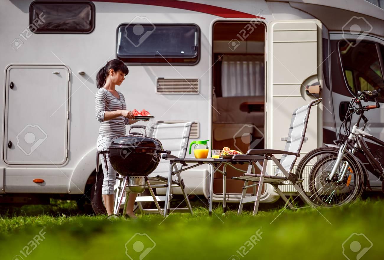 Family vacation travel RV, holiday trip in motorhome, Caravan