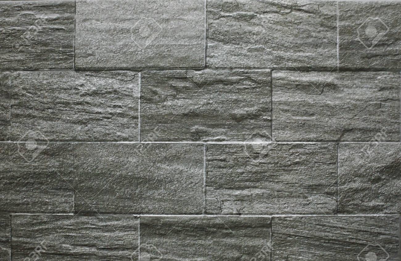 Grey Rock Stone Decor Brick Tile Wall Background Textured