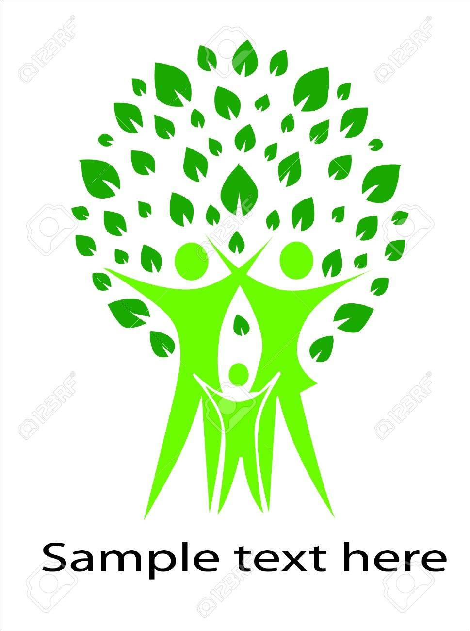 A pictographic image of a green family Stock Vector - 18550887