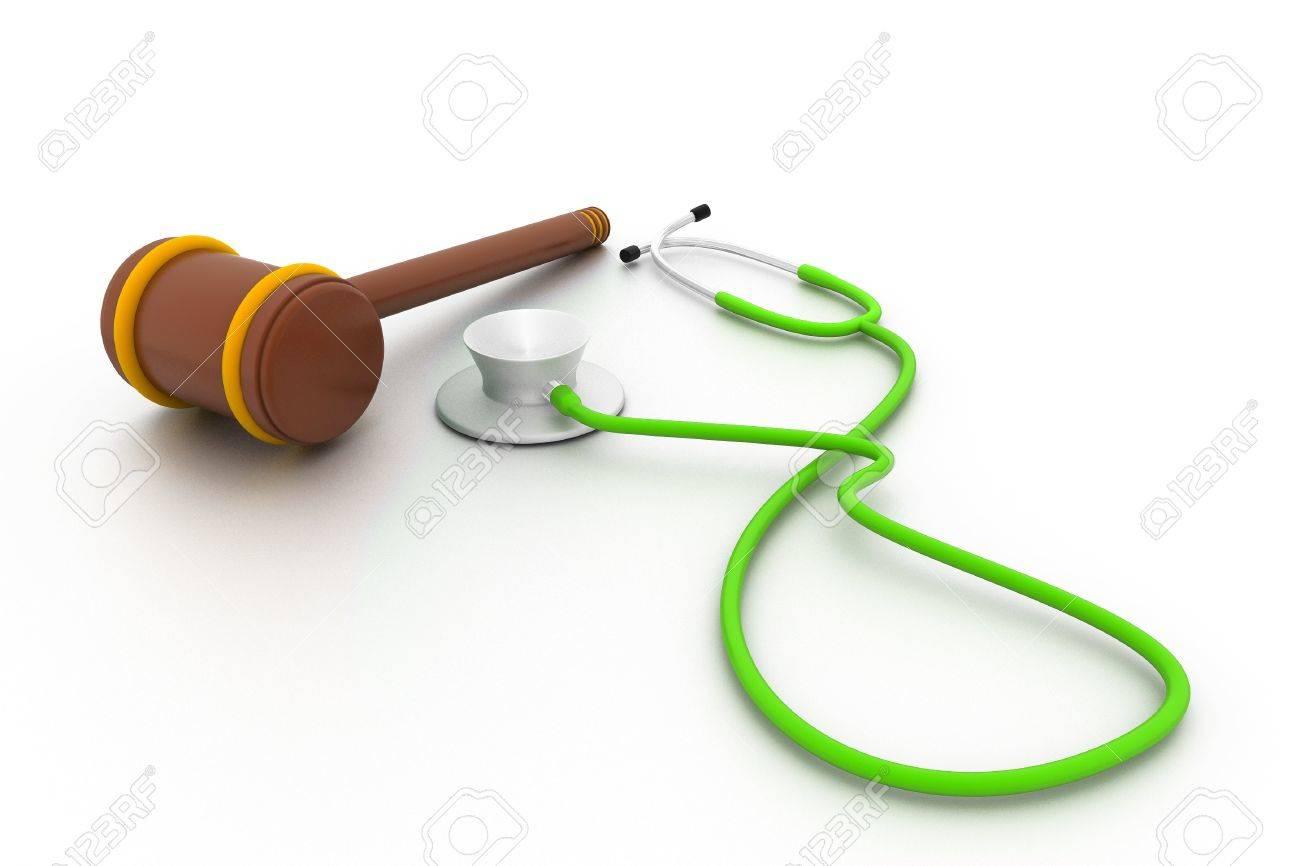 Stethoscope and gavel isolated on white background. Stock Photo - 10919893