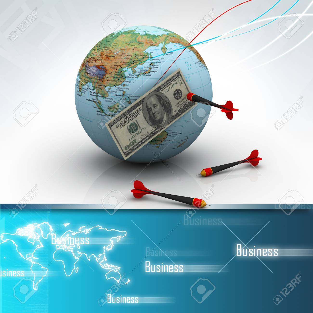 Dollar over the world with darts Stock Photo - 10952450
