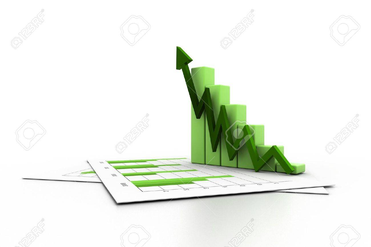 Business chart with growth graph Stock Photo - 11290099