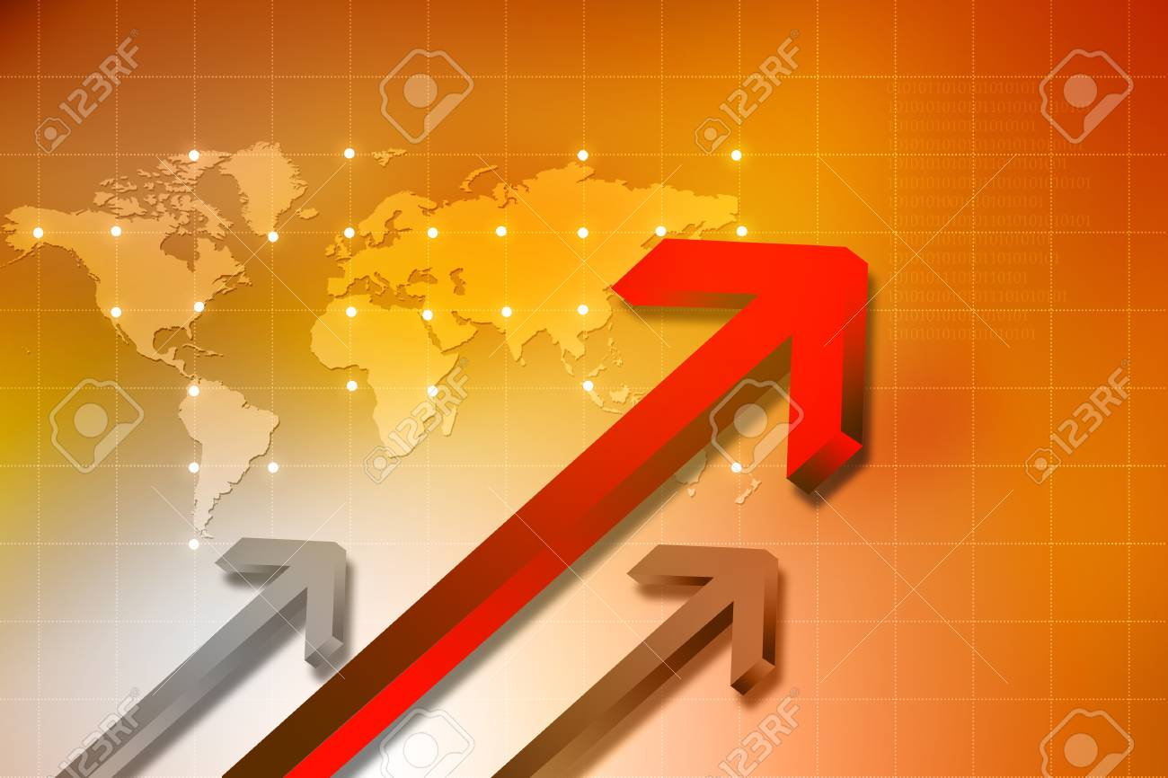 arrows and world map Stock Photo - 14498848