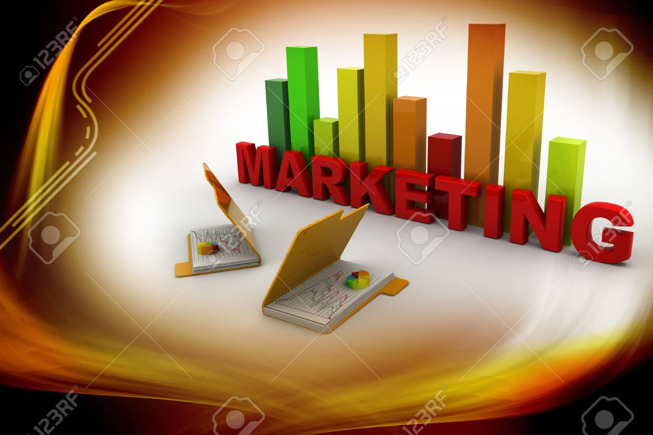 3d Marketing graph and folder Stock Photo - 15798681