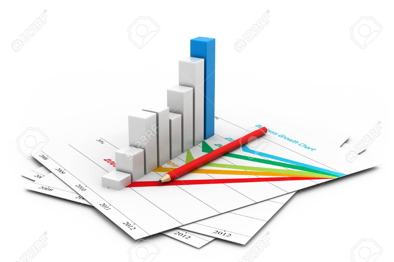 Business chart with growth graph Stock Photo - 16946266