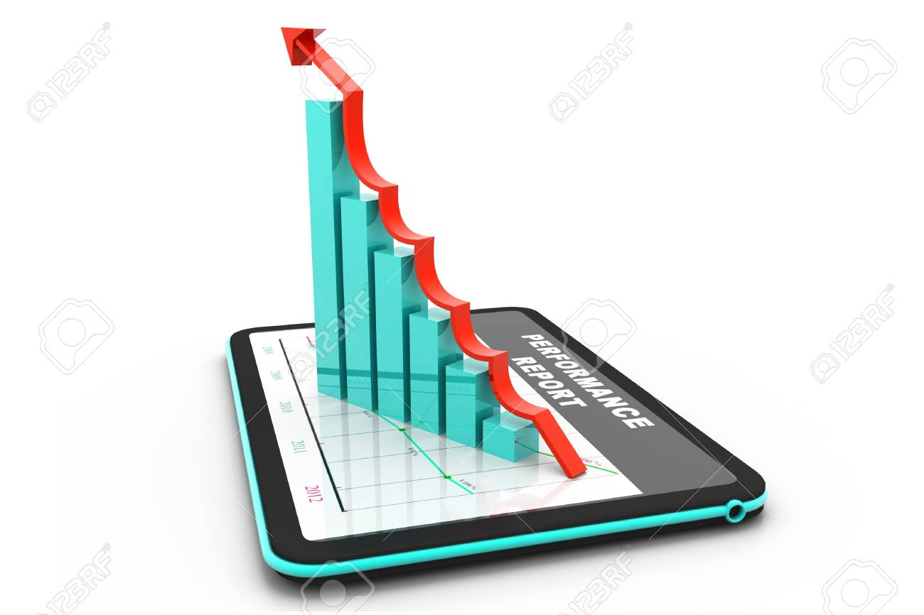 Digital tablet with rising chart Stock Photo - 17033712