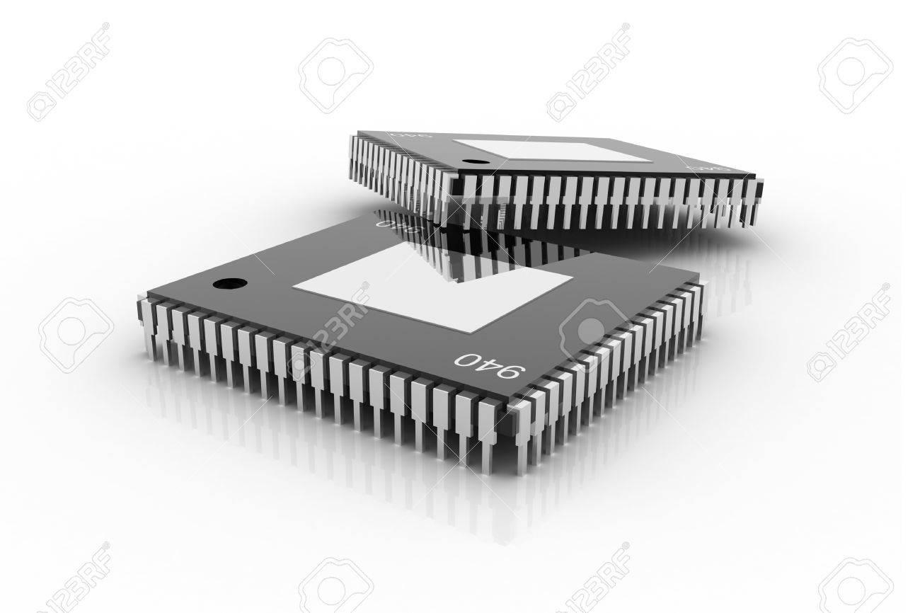 Circuito Integrado : Chip de circuito integrado electrónico en un fondo blanco fotos