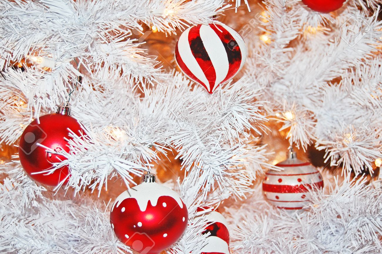 Red and white christmas decorations - Stock Photo Red And White Christmas Ornaments Hanging From A Frosted White Christmas Tree