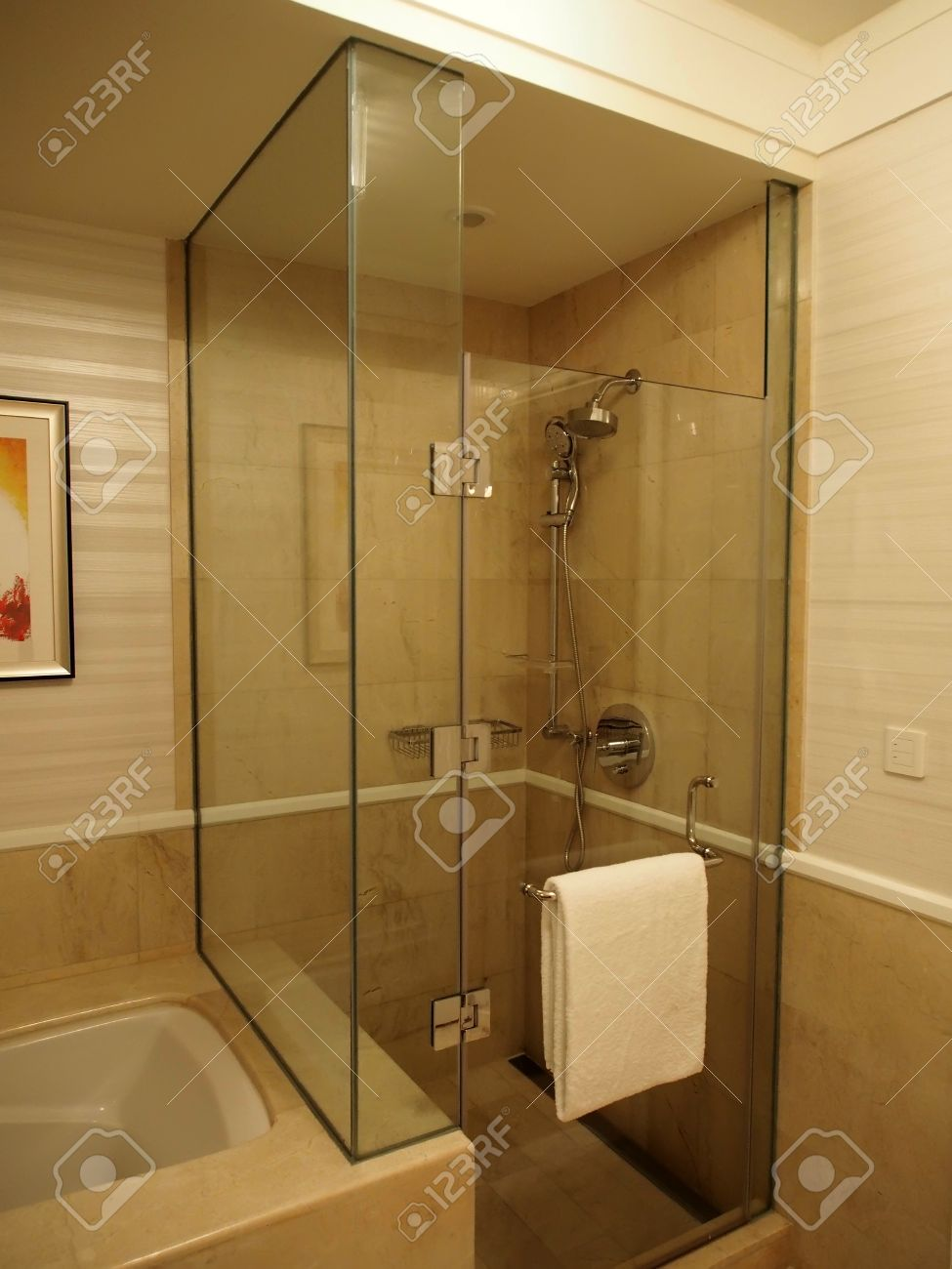 Glass Enclosed Shower glass enclosed shower stall in bathroom stock photo, picture and