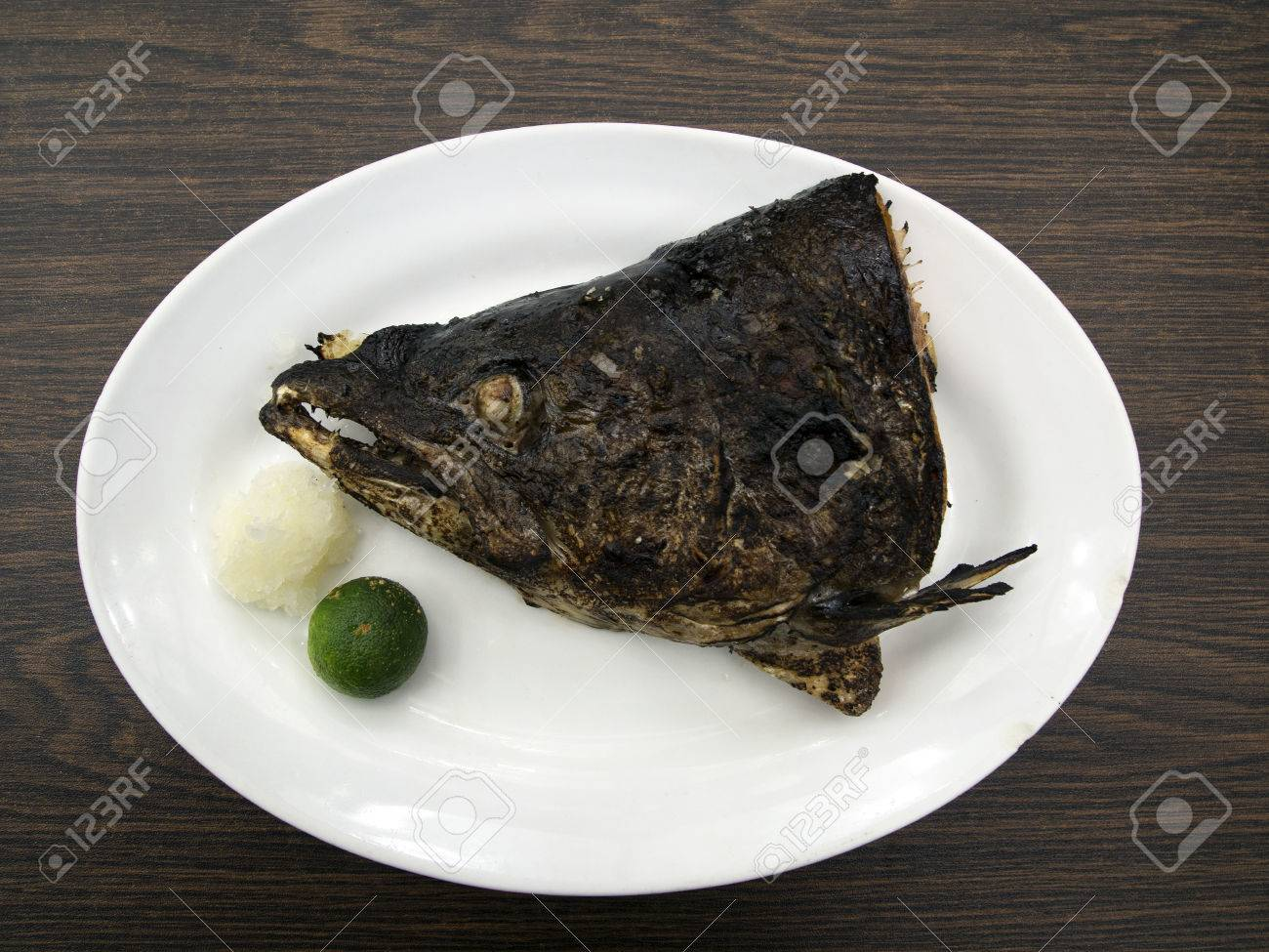 Stock Photo Grilled Salmon Head Japanese Style Grilled Salmon Head Japanese  Style Stock Photo, Picture