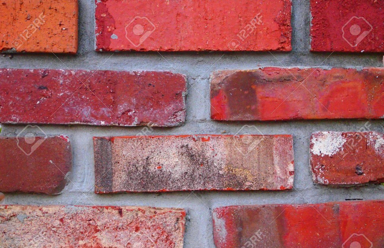 Mur De Briques Avec Plusieurs Briques De Couleur Rouge Orange Etc