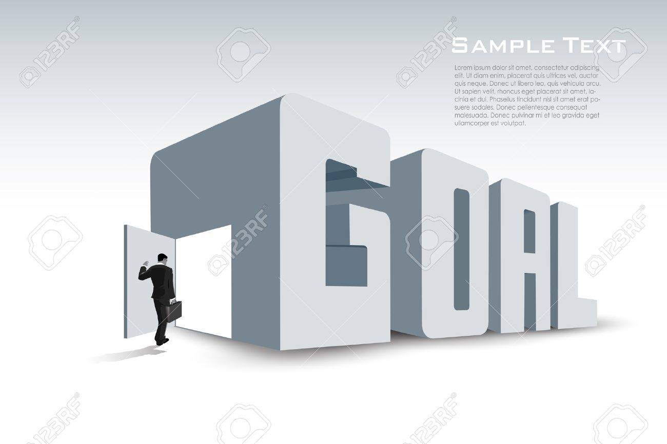 businessman move towards his goal Stock Vector - 13385911